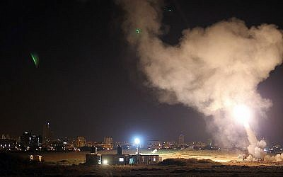 Iron Dome system intercepts Gaza rockets aimed at the city Ashdod, 8 July 2014.