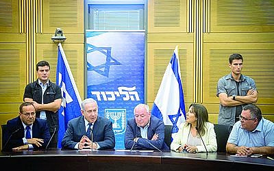 Israeli prime minister Benjamin Netanyahu leads a Likud faction  meeting in the Israeli parliament on July 16, 2018. Photo by Miriam Alster/Flash90