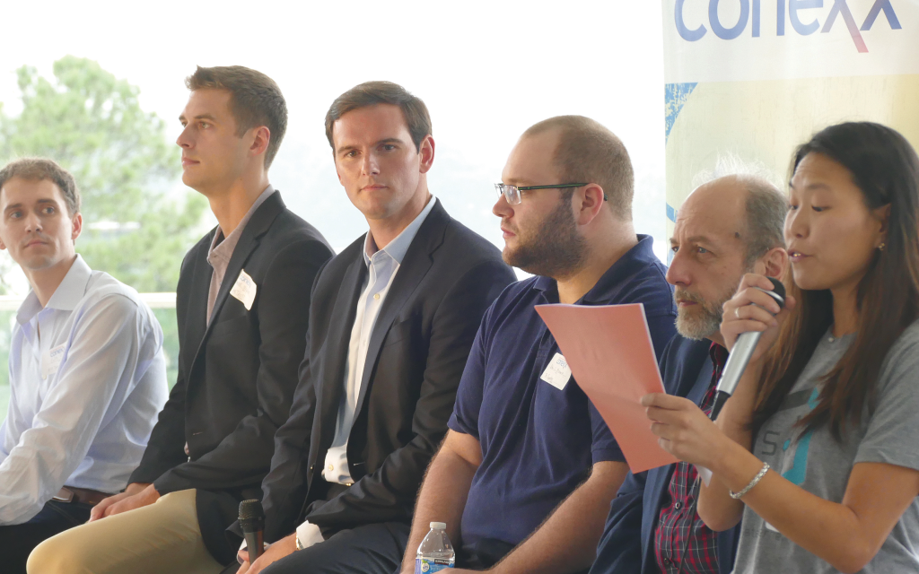 Cryptocurrency panel members, from left: Colin Hill, Hill Innovative Law; Spencer Wyckoff, One Trust; Matt Ficken, Insperity; Ethan Merbaum, cryptocurrency consultant; Arthur Stepanyan, Gramyre Media; Alexandra Tregre, business development.