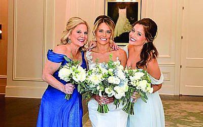 Mother of the bride Sharon Rosenberg Kroll, bride Jaime Dunn, and bridesmaid/sister Jordyn Kroll.
