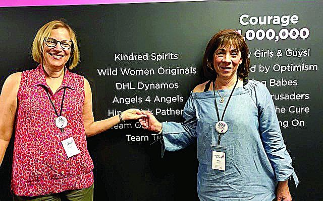 Rina Wolfe and Roslyn Konter received an award for Angels 4 Angels, started in memory of friends who passed away from breast cancer.