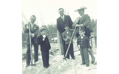 Rabbi Ilan Feldman as a child in front of his father, Rabbi Emanuel Feldman (center), at the groundbreaking of Beth Jacob synagogue on Lavsita Road in 1961.