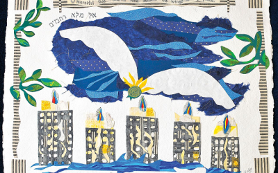 """Atlanta artist Flora Rosefsky created this large paper collage, """"Beneath Thy Wings,"""" for the Yizkor memorial service on Yom Kippur."""