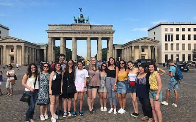 At the Brandenburg Gate are, from left, Amanda Rosner, Connie Hammond, Kayley Tarantino, Jonathan Boretsky, Madi Jackson, Hilary Miller, Amanda Graff,  Gabrielle Burack, Lipaz Avigal, Lauren Goldstein, Julie Covall, Stacey Lynn, Alissa Platz.