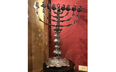 Menorah at the ancient Jewish ghetto in Venice.