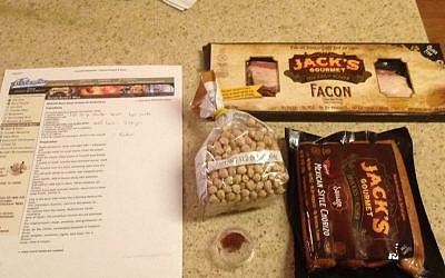 Jack's Gourmet kosher alternatives to the chorizo and beef bacon are called for in the original recipe.