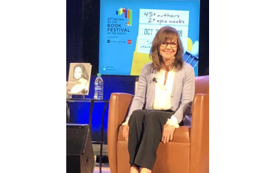 Photo by Brenda Gelfand // Actress Sally Field on stage at the Book Festival of the MJCCA.