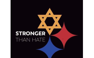 A graphic adapted from the NFL Pittsburgh Steelers' logo honors those slain in synagogue shooting.