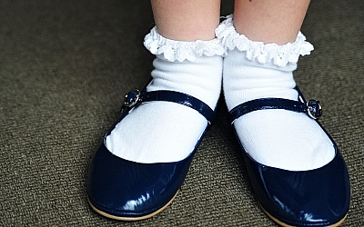 The author recalls wearing Mary Janes to synagogue.