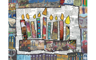 AJT Chanukah Collage by Beruriah Freedman from Chaya Mushka Children's House, Fourth Grade