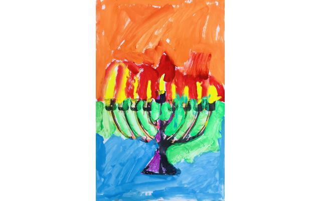 Post-Pop Art Chanukah by Noah Swenson-Friedberg from The Davis Academy, Second Grade