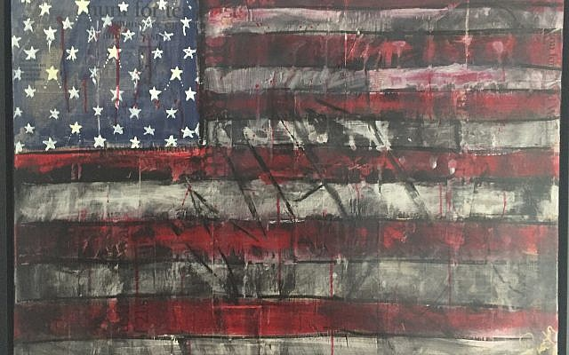 """9/11 Memorial""  24-by-36-inch for sale at the I.D.E.A Gallery in Chamblee. This mixed media is in the New York National September 11 Memorial & Museum Artists Registry."