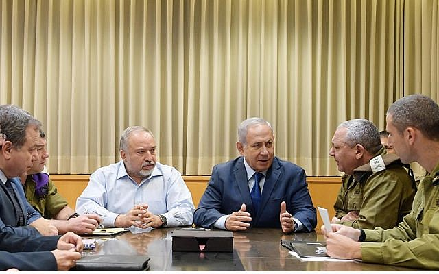 Photo by Government Press Office/Amos Ben-Gershom // Prime Minister Benjamin Netanyahu holds a security briefing in Tel Aviv.
