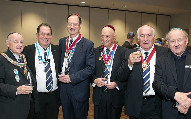 Enjoying the moment after Rubenstein, left, received the Hebrew Order of David award are: Mario Oves, president of the Governing Lodge of North America; David Joss and Les Kraitzick, past presidents of the governing lodge; Stan Klaff, past president of the Grand Lodge; and Brian Rubenstein.