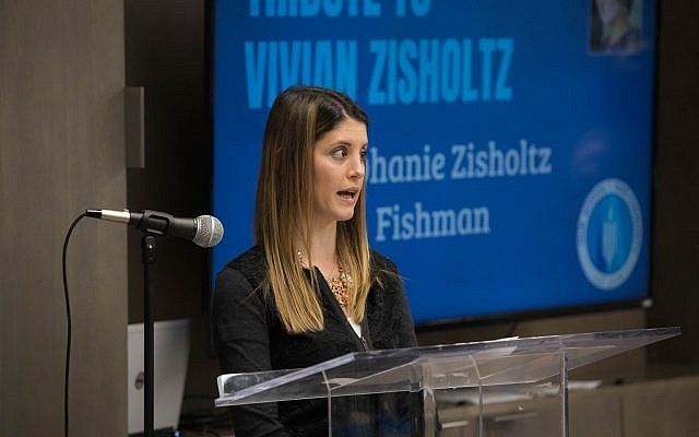 Stephanie Zisholtz Fishman speaks about her mother, Vivian Zisholtz, after whom the new sportsmanship center is named.