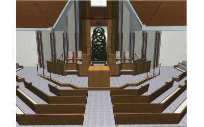 Etz Chaim's $4.3 million renovation will include refurbished pews and wheelchair accessibility to the lower bimah.