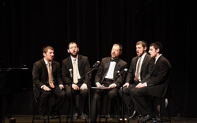 Photos by Harold Alan // Musical Goldberger family from left: Yaakov, Yom Tov, Rabbi Menashe, Yehoshua, and Eliyahu at a fundraising concert for Temima High School.