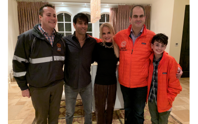 Gavriel Friedson, deputy director of international operations of United Hatzalah, hosts Jeff and Carrla Goldstein, Eli Beer, United Hatzalah president and founder, and Gabe Jack Stein, who raised $65,000 for UH for his bar mitzvah project.