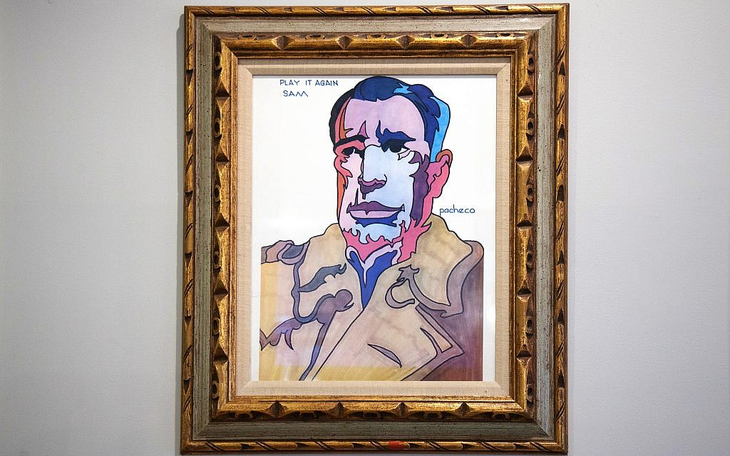 """Mark inherited this original painting of Humphrey Bogart, """"Play It Again Sam,"""" by Ferdie Pacheco, Muhammad Ali's """"fight doctor."""""""