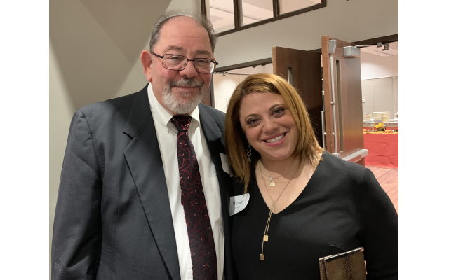 Wendy Heller, honoree, was delighted that her parents came from Detroit to celebrate. She is pictured here with her father, Ed Betel.