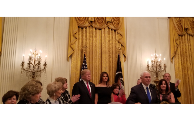 President Trump and the first lady are joined by Vice President and Mrs. Pence, along with several Holocaust survivors.