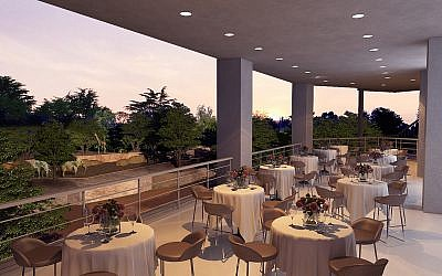 One of two outdoor terraces adjacent to the ballroom allows for an immersive savanna experience.