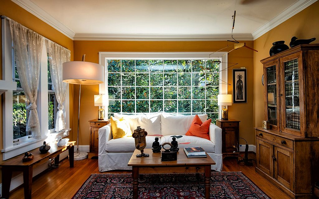 """Padwa's living room featuring a """"ceiling dweller."""""""