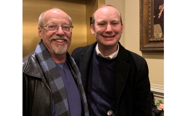 Photos by Marcia Caller Jaffe // Dr. Ramie Tritt, whose family foundation sponsored the Scholar-in-Residence concert, chatted with Rabbi Daniel Dorsch at the dessert reception.