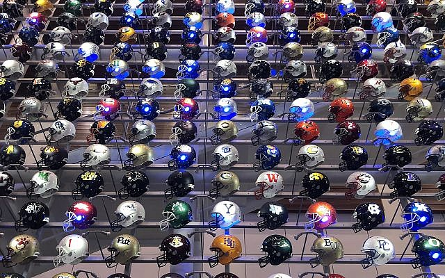 The College Football Hall of Fame's interactive helmet exhibit.