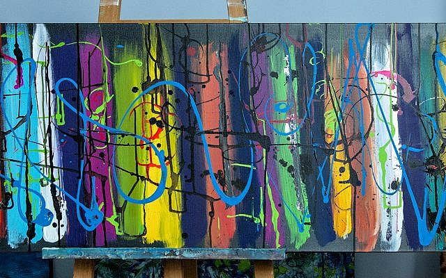 """Wilensky's colorful original """"The Dance,"""" a 5-foot-wide acrylic inspired by ballet movement and costumes."""