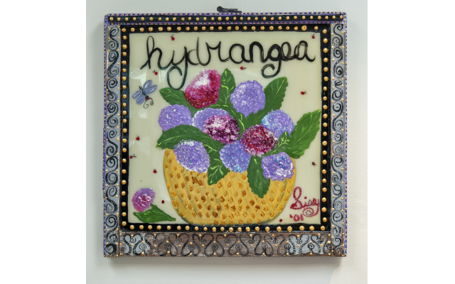 """""""Hydrangea"""" by Jewish Southern artist Sissy Rosenberg was found at a Montgomery art fair. Note the detail on the frame."""