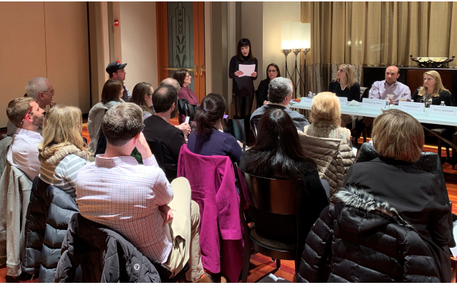 """Linda Silberman, president of Federation Women's Philanthropy, speaks at the """"Loving Someone with Infertility"""" event."""