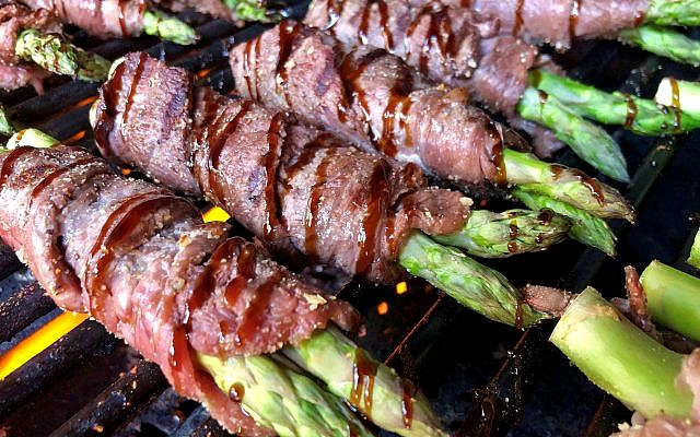 Grilled steak and asparagus with a balsamic glaze from Keith's Corner BBQ.