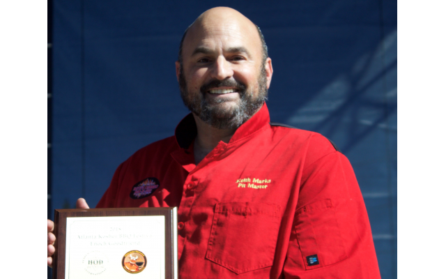 Pit Master Keith Marks won Mensch of the Meat Award at the Kosher BBQ Festival.
