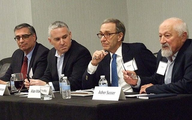 (From left) Joel Singer, Jonathan Schanzer, Alan Makovsky and Asher Susser discuss Israel's efforts to develop official and unofficial relationships with Muslim-majority nations in the Middle East.