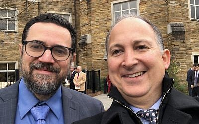 Dan Israel takes a selfie with Rabbi Heller outside the prayer service for newly elected and reelected Georgia officials.