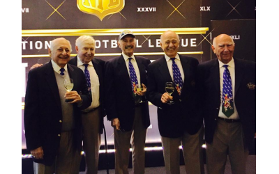 "The Super Bowl Five, from left: Lew ""Chicago Lew"" Rappaport, Al ""Prez"" Schragis, Harvey ""Prof"" Rothenberg, Sylvan ""The Fog"" Schefler, Larry ""Larry Mac"" McDonald."