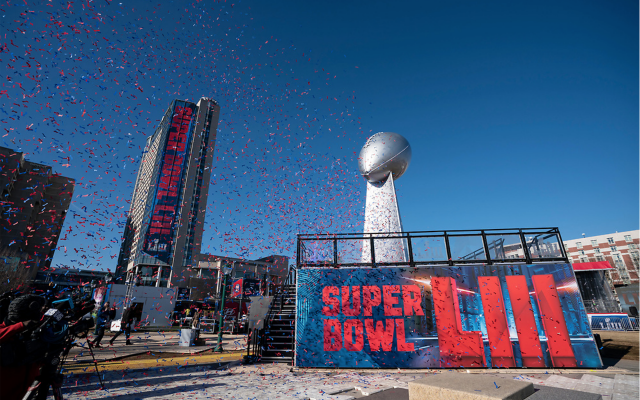 Photo by Paul Abell for ATL Super Bowl Host Committee // Super Bowl LIII signage adds life to the city skyline.