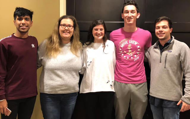 Anurag Gillella, Rachel Kaiser, Alli Goldring, Harry Traub and Justin Rubin serve on Gesher L'Torah's first college panel to engage high school students and recent grads.