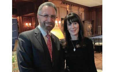 Guest speaker Rabbi David Rosen, AJC international director of interreligous affairs, with Melanie Nelkin, president of AJC Atlanta.