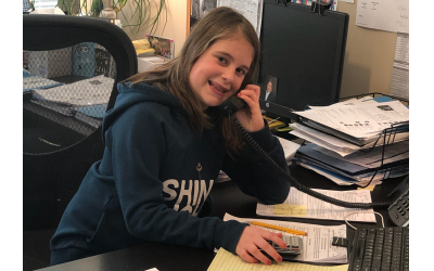 Sadie Weinstein works in the office of BrightWell Talent Solutions, earning money to donate in honor of her great-grandmother.