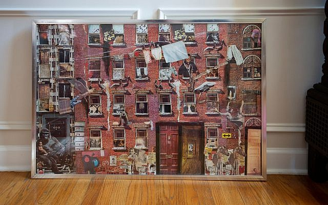 Walter Cade III constructed this mixed media collage featuring a gorilla and tenement building from a core of photographs.