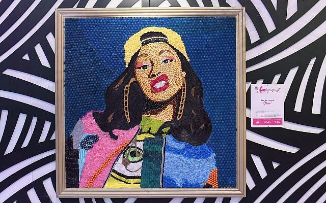 Candy portrait of record-breaking Grammy winner Cardi B.