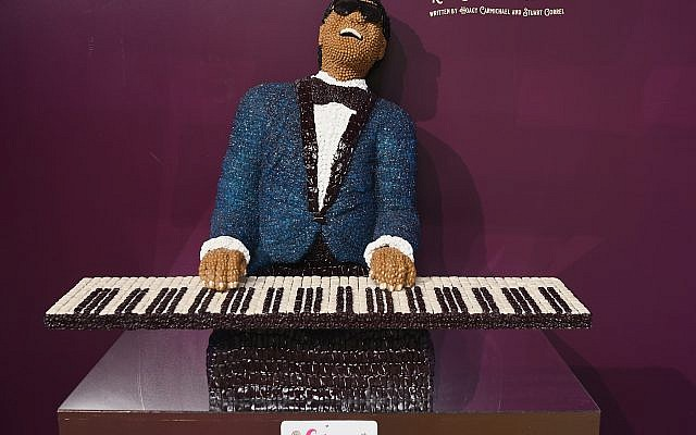Candy portrait of Ray Charles.