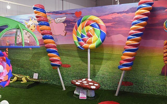 Candy sculptures of lollipops.