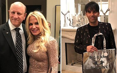 Left: Marc Pollick thanks hostess Carrla Goldstein for opening her home. Right: Host Jeff Goldstein in a Ted Baker jacket shows off BGBG swag bag.