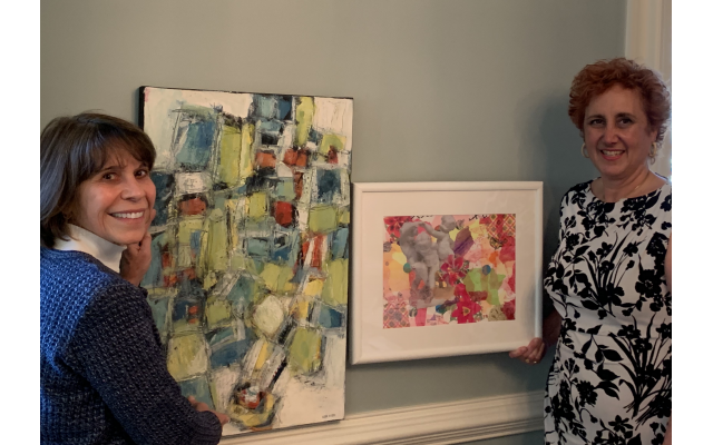 Outgoing ACS president Ellen Stein (left) shows off her collage alongside incoming president Terri Hitzig and her work.