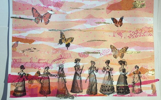 Hitzig's series of Victorian Fashion Plate Butterfly Ladies features papers from her own paintings.