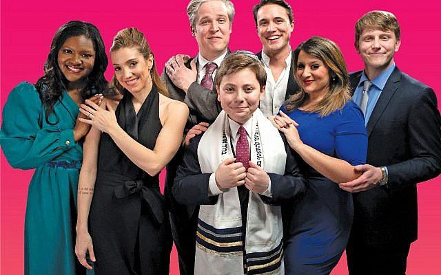 "Photo by Kevin Harry // Actors in ""Falsettos,"" including Alex Newberg (center) dressed in a kippah and tallit."