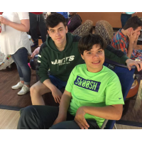 Alex Dunay and Mitchell Bohrer enjoy a bowling event.